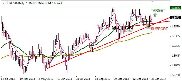 EUR/USD D1, 29 Jan 2014